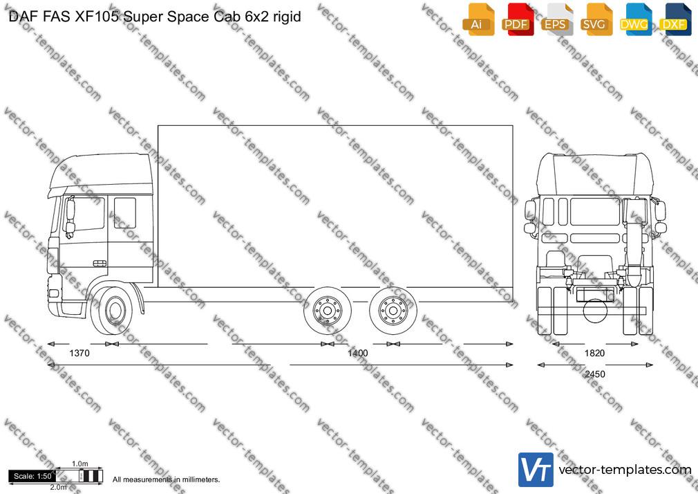 DAF FAS XF105 Super Space Cab 6x2 rigid