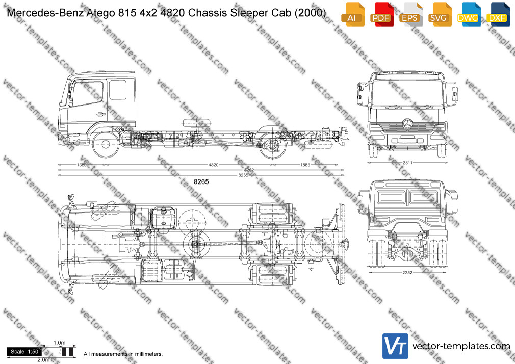 Mercedes-Benz Atego 815 4x2 4820 Chassis Sleeper Cab 2000
