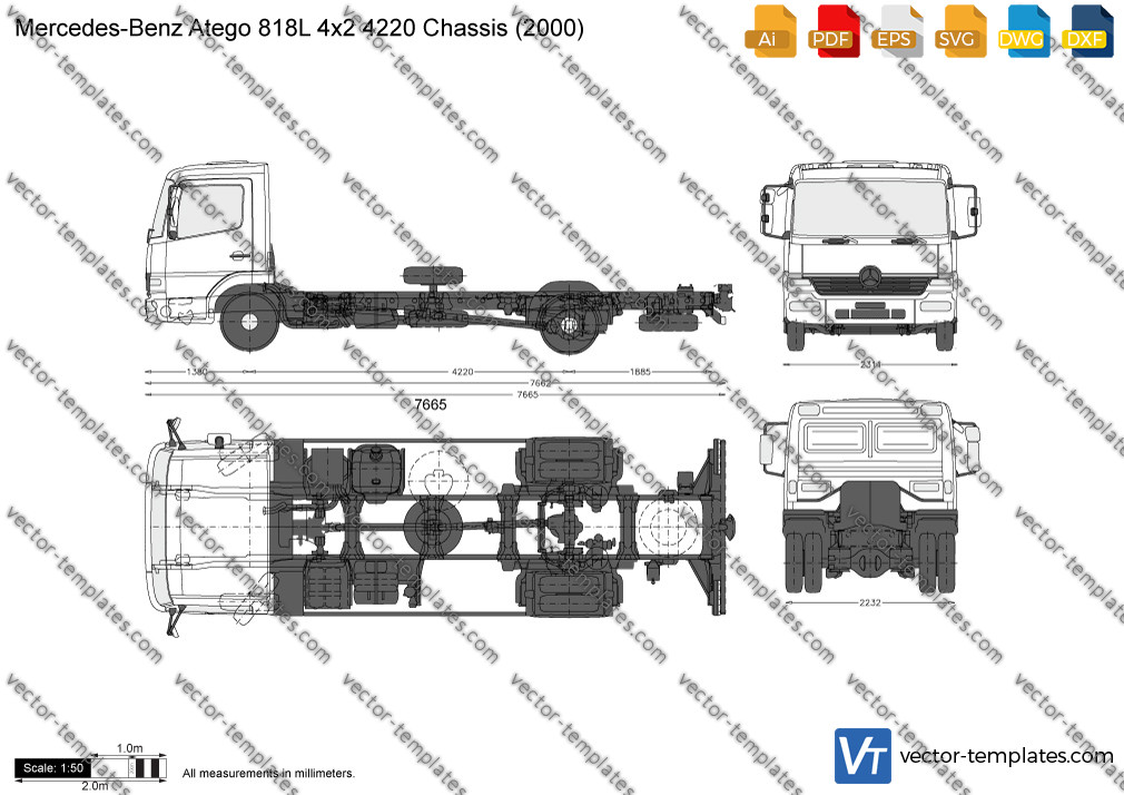 Mercedes-Benz Atego 818L 4x2 4220 Chassis 2000