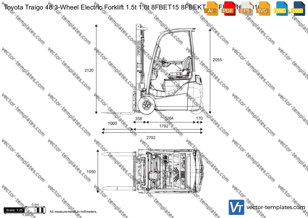 Toyota Traigo 48 3-Wheel Electric Forklift 1.5t 1.6t 8FBET15 8FBEKT16 8FBET16 2016