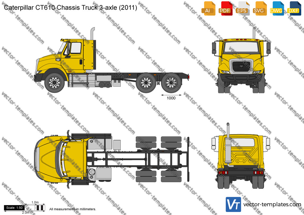 Caterpillar CT610 Chassis Truck 3-axle 2011