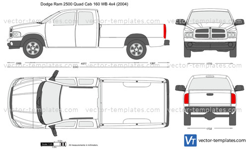 Templates - Cars - Dodge - Dodge Ram 2500 Quad Cab 160 WB 4x4