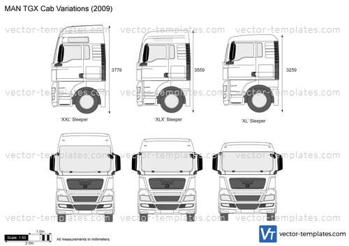 Templates Trucks Man Man Tgx Cab Variations