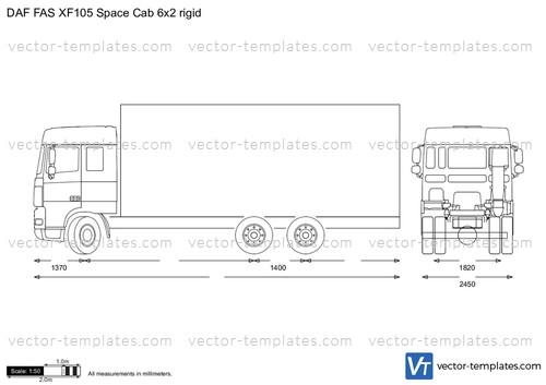 DAF FAS XF105 Space Cab 6x2 rigid