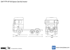 DAF FTP XF105 Space Cab 6x2 tractor