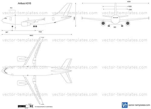 Templates - Modern airplanes - Airbus - Airbus A310