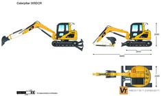Caterpillar 305DCR Mini Hydraulic Excavator