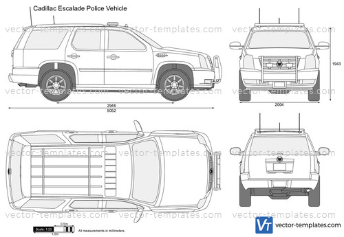 Templates cars cadillac cadillac escalade police vehicle for Free vehicle templates vector