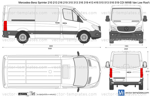 Mercedes-Benz Sprinter 210 213 216 219 310 313 316 319 413 416 510 513 516 519 CDI Van MWB Low Roof