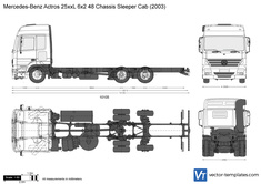 Mercedes-Benz Actros 25xxL 6x2 48 Chassis Sleeper Cab