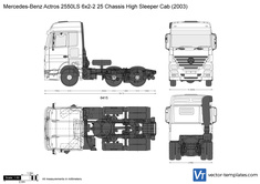Mercedes-Benz Actros 2550LS 6x2-2 25 Chassis High Sleeper Cab