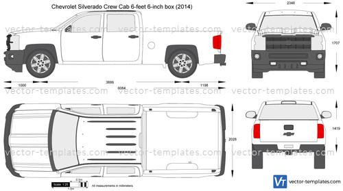 Chevy Avalanche 2016 >> Templates - Cars - Chevrolet - Chevrolet Silverado Crew Cab 6-feet 6-inch box