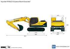 Hyundai R160LC-9 2-piece Boom Excavator