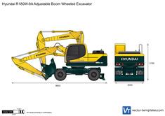 Hyundai R180W-9A Adjustable Boom Wheeled Excavator