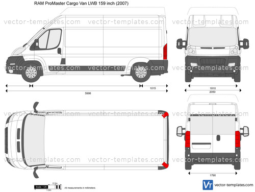 2012 Dodge Ram 1500 Headlights >> Templates - Cars - Dodge - RAM ProMaster Cargo Van LWB 159 ...
