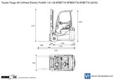 Toyota Traigo 48 3-Wheel Electric Forklift 1.5t 1.6t 8FBET15 8FBEKT16 8FBET16