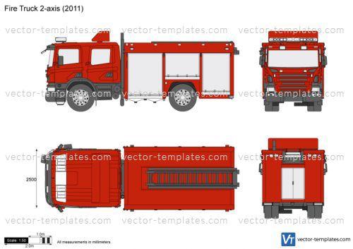 templates trucks trucks fire truck 2 axis