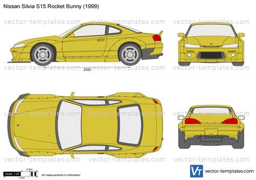 templates - cars - nissan - nissan silvia s15 rocket bunny  vector-templates.com