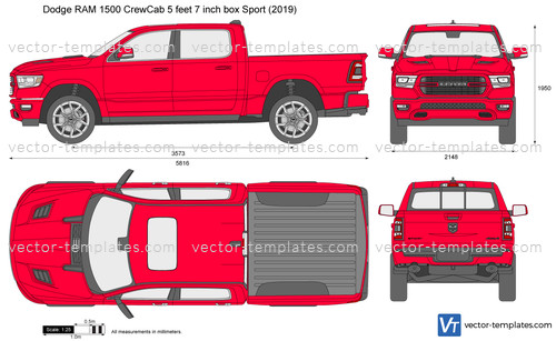 ram dodge 1500 sport box crewcab feet inch vector template templates preview cars